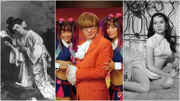 Images from (from left) Madame Butterfly, Austin Powers, and The World of Suzie Wong are shown. Scholars say they are examples of negative representations of Asian women in the entertainment industry. (W. and D. Downey/Getty Images, New Line Cinema, Bert Cann/Paramount British Pictures - image credit)