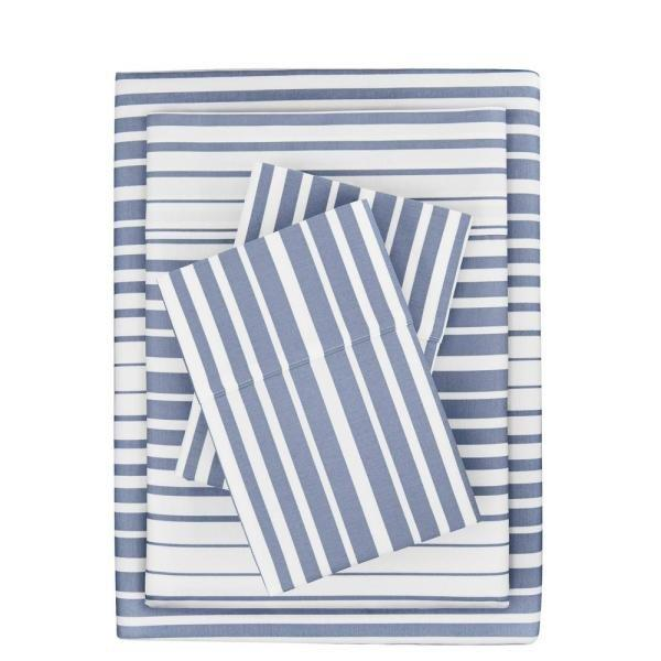 """<p>Blue and white striped sheets will introduce a subtle nod to the nautical. This 300 thread count sateen set comes with a flat sheet, fitted sheet, and two pillowcases, so all you'll need to do is top it with a duvet cover or comforter. </p> <p><strong>To buy: </strong>$37 for queen, <a href=""""http://www.anrdoezrs.net/links/7876406/type/dlg/sid/RS%2CHomeDepot%2527sNewCollectionHasLuxeBeddingandBathTowels%2Ckholdefehr1271%2CDEC%2CIMA%2C677981%2C201910%2CI/https://www.homedepot.com/p/StyleWell-300-Thread-Count-Easy-Care-Sateen-4-Piece-Queen-Sheet-Set-in-Washed-Denim-Stripe-20181025/308115813"""" target=""""_blank"""">homedepot.com</a>. </p>"""