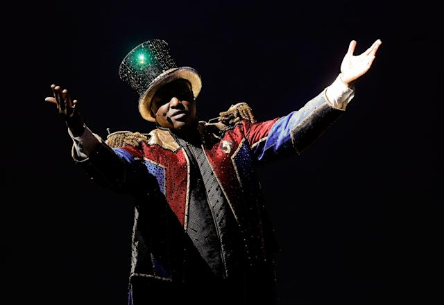 <p>Ringmaster Johnathan Lee Iverson performs during the final show of the Ringling Bros. and Barnum & Bailey Circus, Sunday, May 21, 2017, in Uniondale, N.Y. (AP Photo/Julie Jacobson) </p>