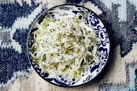 """Sometimes you don't want creamy coleslaw—you want something a little brighter. When all the flavors meld, the <a href=""""https://www.epicurious.com/ingredients/why-dried-mint-is-the-essential-herb-your-kitchen-is-missing-article?mbid=synd_yahoo_rss"""" rel=""""nofollow noopener"""" target=""""_blank"""" data-ylk=""""slk:dried mint"""" class=""""link rapid-noclick-resp"""">dried mint</a> blooms and transforms this dish into a refreshing slaw that pairs well with pulled pork. Yes, you could add potato salad, too, but you don't need to. <a href=""""https://www.epicurious.com/recipes/food/views/lemony-cabbage-with-mint?mbid=synd_yahoo_rss"""" rel=""""nofollow noopener"""" target=""""_blank"""" data-ylk=""""slk:See recipe."""" class=""""link rapid-noclick-resp"""">See recipe.</a>"""