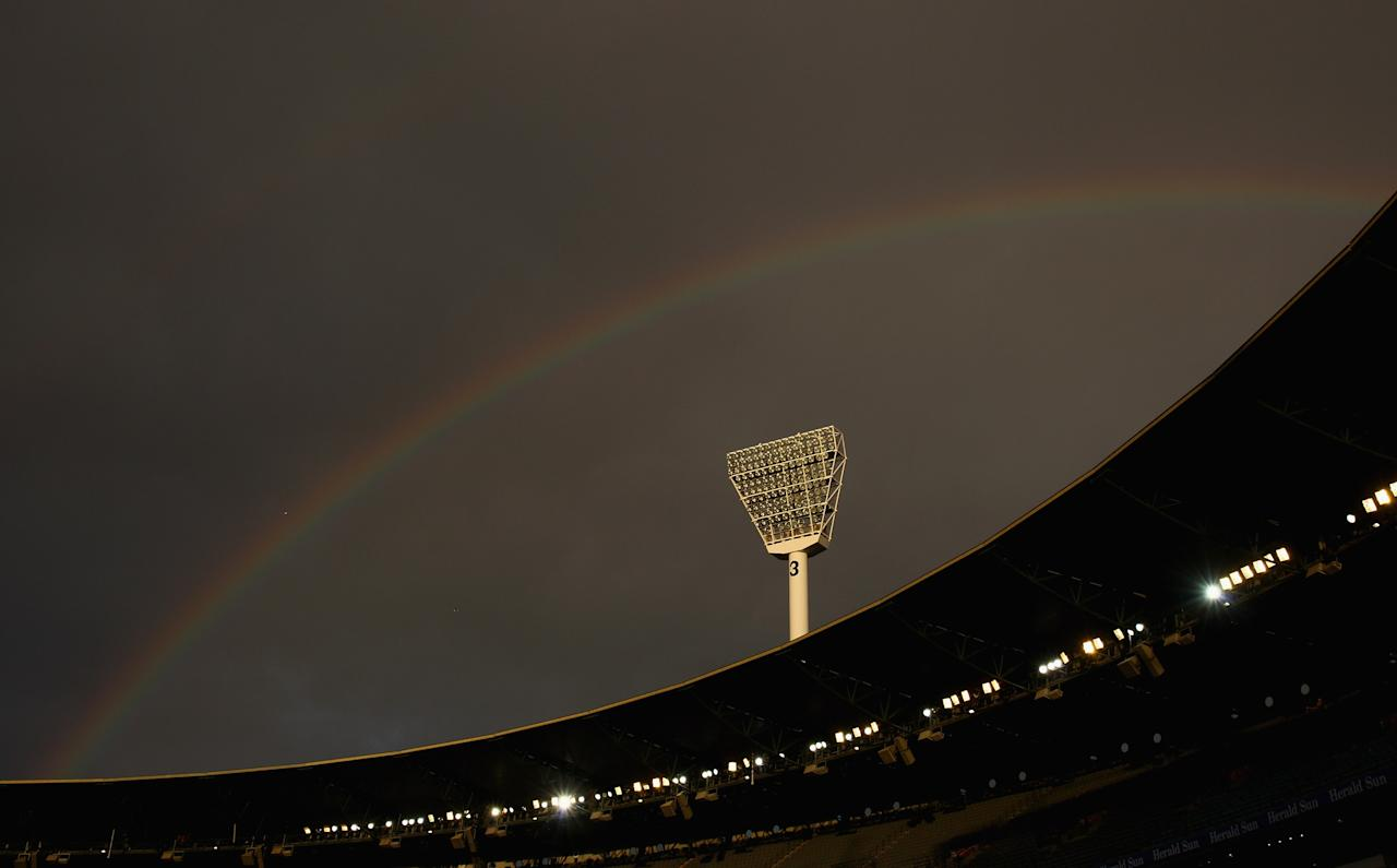 MELBOURNE, AUSTRALIA - SEPTEMBER 04:  A rainbow set over the Melbourne Cricket Ground during the AFL First Qualifying Final match between the Collingwood Magpies and the Western Bulldogs at the Melbourne Cricket Ground on September 4, 2010 in Melbourne, Australia.  (Photo by Quinn Rooney/Getty Images)