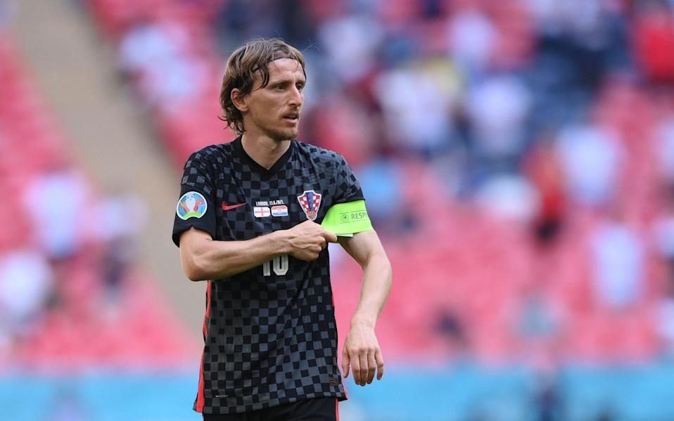Luka Modric, who tore England apart in the World Cup semi-final in 2018, has been kept relatively quiet so far today - Reuters