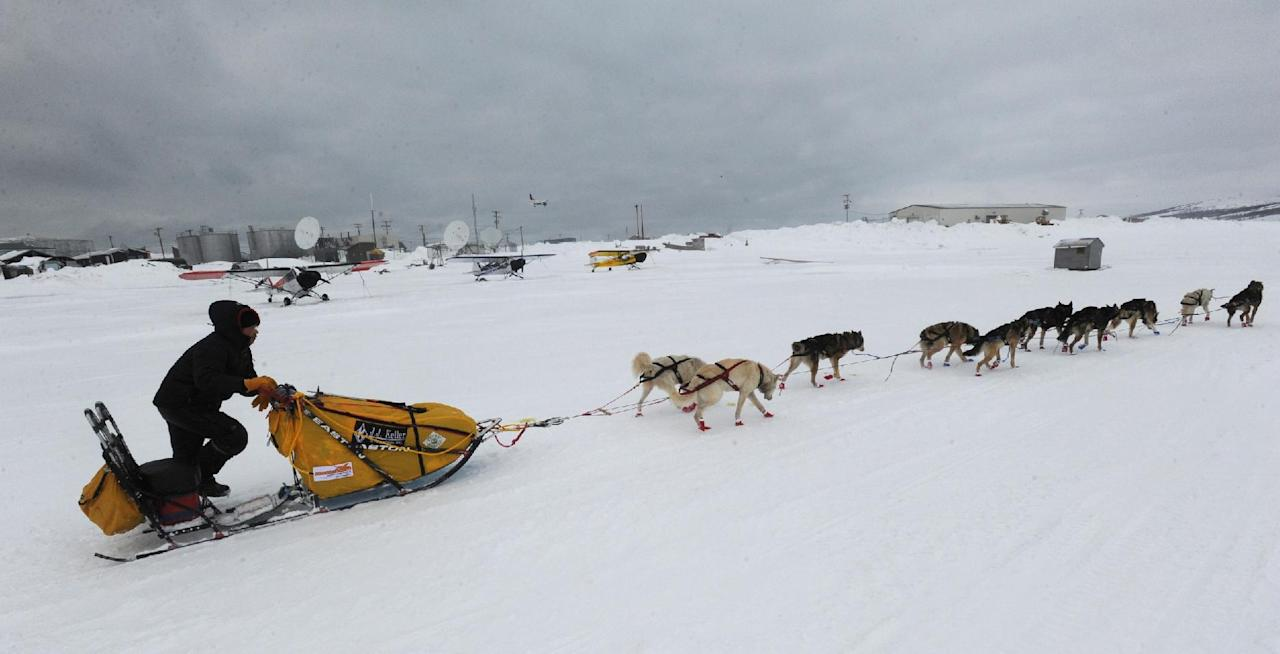 Mitch Seavey was the first musher to leave the checkpoint at Unalakleet on Sunday, March 10, 2013, during the Iditarod Trail Sled Dog Race. (AP Photo/Anchorage Daily News, Bill Roth)