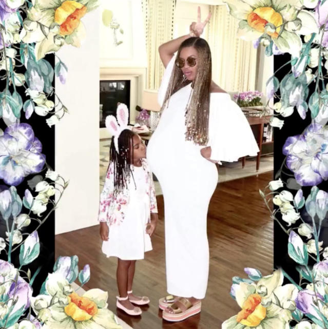 "<p>Here are the two bunnies in white on Easter. (Photo: <a href=""https://www.instagram.com/p/BTN6tgmAC-W/?taken-by=beyonce"" rel=""nofollow noopener"" target=""_blank"" data-ylk=""slk:Beyoncé via Instagram"" class=""link rapid-noclick-resp"">Beyoncé via Instagram</a>) </p>"