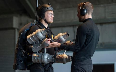 Tom prepares to fly the Iron Man-style jet suit at Gravity Industries - Credit: JULIAN SIMMONDS