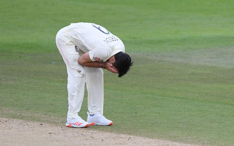 England's James Anderson reacts after a chance to catch was dropped in the field off his bowling on the third day of the third Test cricket match between England and Pakistan at the Ageas Bowl in Southampton, southern England on August 23, 2020. - GETTY IMAGES