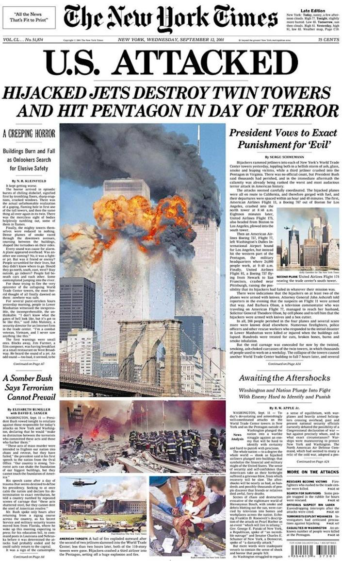 The New York Times' front page on 12 September, 2001 (The New York Times)