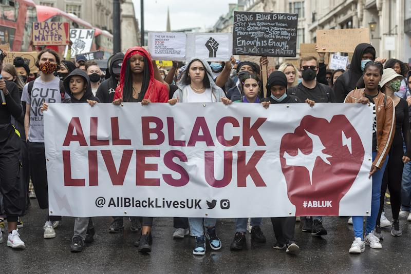 LONDON, UNITED KINGDOM - JUNE 28: Protesters take part in a demonstration organized by the group Black Lives Matter in London, United Kingdom on June 28, 2020. (Photo by Ray Tang/Anadolu Agency via Getty Images)