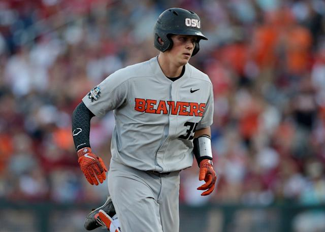 Oregon State's Adley Rutschman was given the Barry Bonds treatment Friday, earning a rare bases loaded intentional walk. (AP Photo/Nati Harnik)