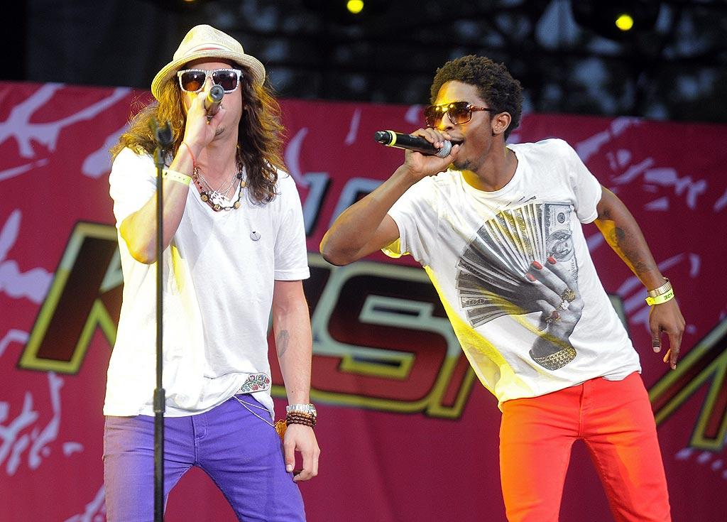 """Malibu's most wanted Cisco Adler and his DJ pal, Shwayze, slipped into some skinny jeans of their own. Jeff Kravitz/<a href=""""http://www.filmmagic.com/"""" target=""""new"""">FilmMagic.com</a> - May 10, 2008"""