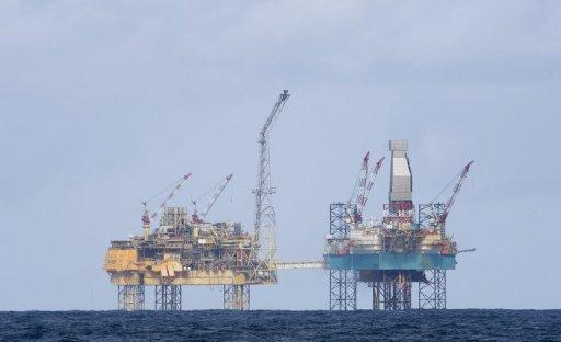 Total's Elgin rig in the North Sea 150 miles off Aberdeen on April 2, 2012