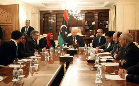 Bernardino Leon, U.N. special envoy for Libya, attends a meeting with members of the Libyan General National Congress in Tripoli
