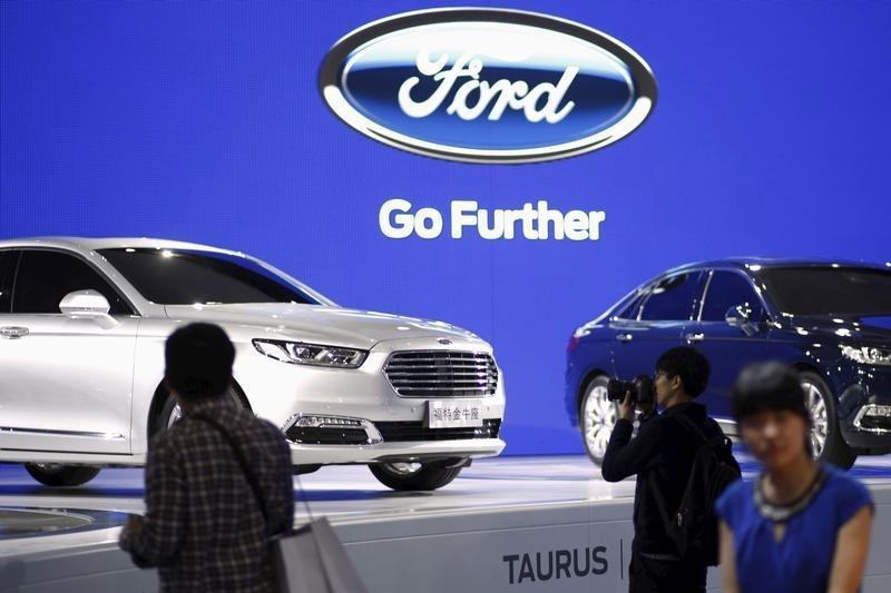 Ford Taurus cars are seen during a presentation at the 16th Shanghai International Automobile Industry Exhibition in Shanghai