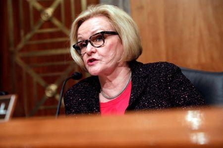FILE PHOTO: Sen. Claire McCaskill at a Senate Homeland Security and Governmental Affairs hearing on border security on Capitol Hill in Washington