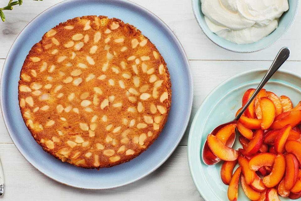 """This wonderfully moist almond cake easily goes gluten-free if desired. The cake comes together quickly in the food processor, with some apricots puréed and some folded into the batter, which infuses the whole cake with apricot flavor. <a href=""""https://www.epicurious.com/recipes/food/views/gluten-free-almond-apricot-food-processor-cake?mbid=synd_yahoo_rss"""" rel=""""nofollow noopener"""" target=""""_blank"""" data-ylk=""""slk:See recipe."""" class=""""link rapid-noclick-resp"""">See recipe.</a>"""
