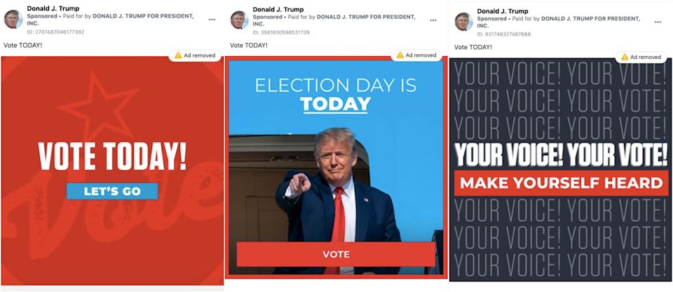 Trump election day misleading ads