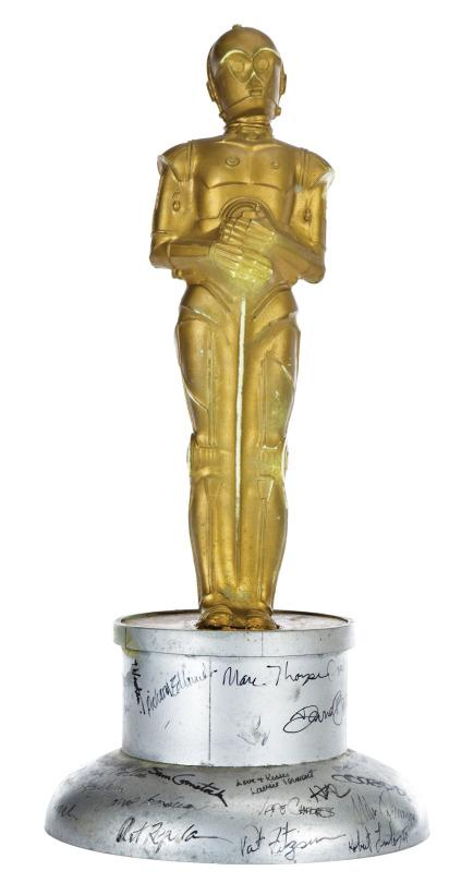 The'Star Wars'franchise won a bundle of Oscars and other awards for its special effects and groundbreaking technological work, but no trophy could compare to this one-of-a-kind C-3PO statuette. This incredible artifact was presented to visual effects master Brian Johnson after he left ILM following 'The Empire Strikes Back.' It's signed by over 30 ILM crew members, too, including thelegendary Joe Johnston. You'll have to pony up $15,000-20,000 for this guy. (Profiles in History)