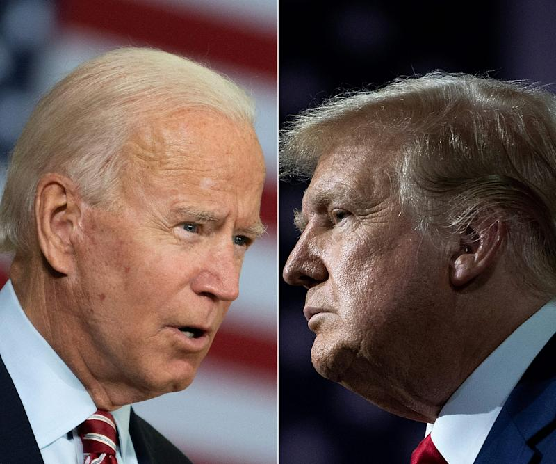 (COMBO) This combination of file pictures created on September 28, 2020 shows Democratic presidential candidate Joe Biden(L) speaking in Tampa, Florida on September 15, 2020 and US President Donald Trump speaking during an event for black supporters at the Cobb Galleria Centre September 25, 2020, in Atlanta, Georgia. - At the September 29, 2020 election debate, millions of Americans will watch as the two antagonists -- who depict each other as existential threats to the country -- step into the ring live on television after months of shadow-boxing. (Photos by JIM WATSON and Brendan Smialowski / AFP) (Photo by JIM WATSON,BRENDAN SMIALOWSKI/AFP via Getty Images) (Photo: JIM WATSON via Getty Images)