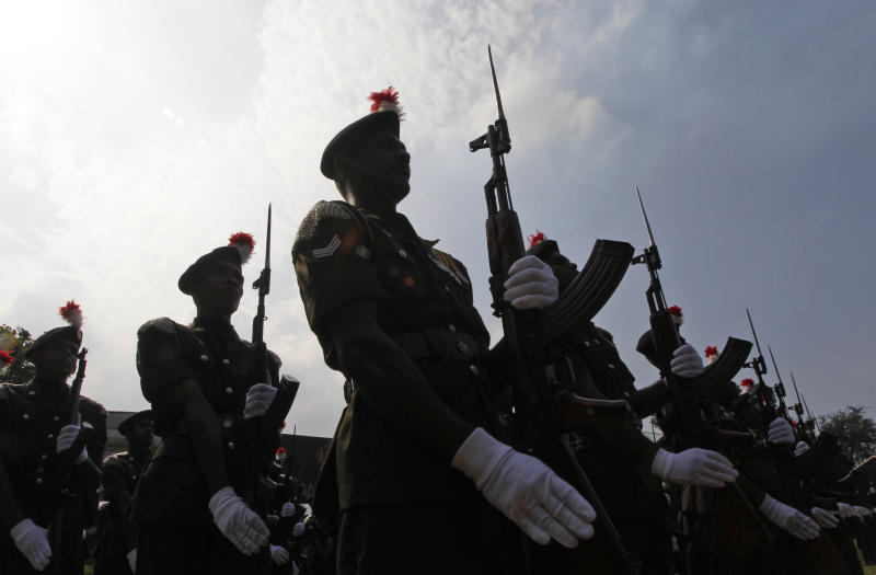 Sri Lankan army soldiers from the Armored Corp participate in a parade during their annual regiment day in Colombo, Sri Lanka, Wednesday, Dec. 15, 2010. Last year, Sri Lankan government forces ended a 25-year civil war, routing the Tamil rebels who were fighting for a separate homeland on the Indian Ocean island. (AP Photo/Eranga Jayawardena)
