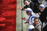 Around 400 people welcome Pope Francis to the cathedral in Rabat