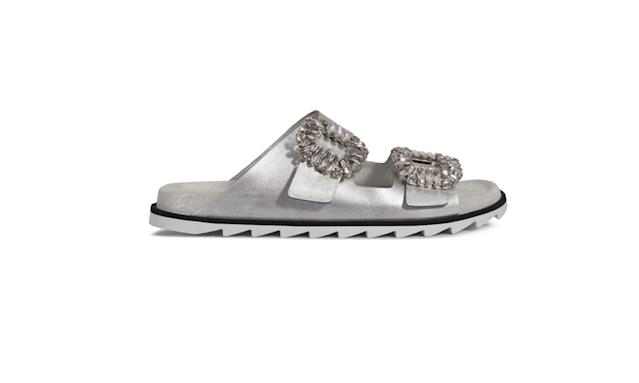 "<p>Slidy Viv' leather sandals, $1,250, <a href=""http://store.rogervivier.com/US/Slidy-Viv%27-Sandals-in-Silk-Satin/p/RVW45819250D7R1910"" rel=""nofollow noopener"" target=""_blank"" data-ylk=""slk:rogervivier.com"" class=""link rapid-noclick-resp"">rogervivier.com</a> </p>"