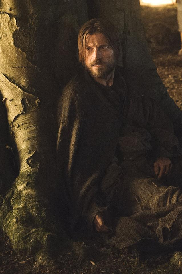 Jaime Lannister (Nikolaj Coster-Waldau) looks worse for the wear as Brienne's prisoner on their journey to King's Landing. He's sent there by Catelynn Stark as a trade for Arya and Sansa -- though one of them isn't even there.