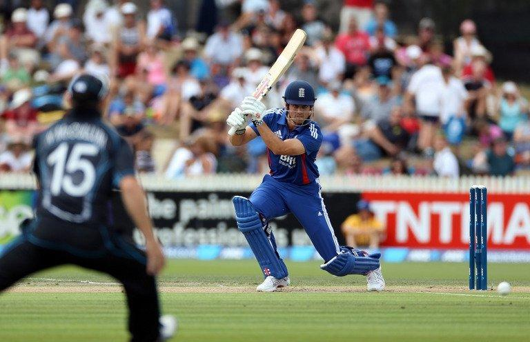 England's Alastair Cook hits a shot during the one-day international against New Zealand in Hamilton on Febuary 17, 2013