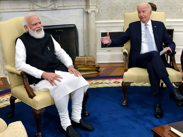 Prime Minister Narendra Modi and US President Joe Biden hold bilateral meeting at the Oval Office in the White House, in Washington DC on Friday. (Photo/ANI)