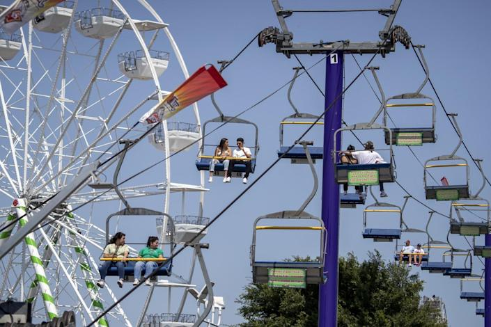 the Sky Ride and Ferris wheel
