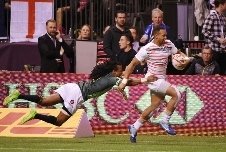 England (in white) and South Africa compete during the HSBC Canada Sevens Vancouver tournament, at BC Place Stadium, on March 11, 2017
