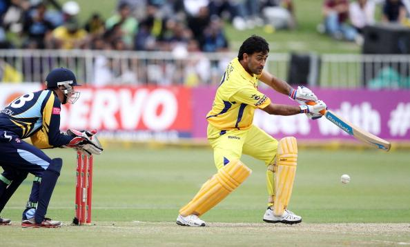 DURBAN, SOUTH AFRICA - OCTOBER 22:  MS Dhoni of Chennai in action during the Champions League twenty20 match between Chennai Super Kings and Yorkshire Carnegie at Sahara Stadium Kingsmead on October 22, 2012 in Durban, South Africa. (Photo by Anesh Debiky / Gallo Images/Getty Images)