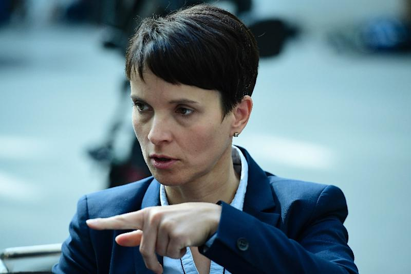 """Leader of the """"Alternative fuer Deutschland"""" (AfD) party, Frauke Petry, has come under fire for taking part in a gathering of eurosceptic and far-right leaders in Germany (AFP Photo/TOBIAS SCHWARZ)"""