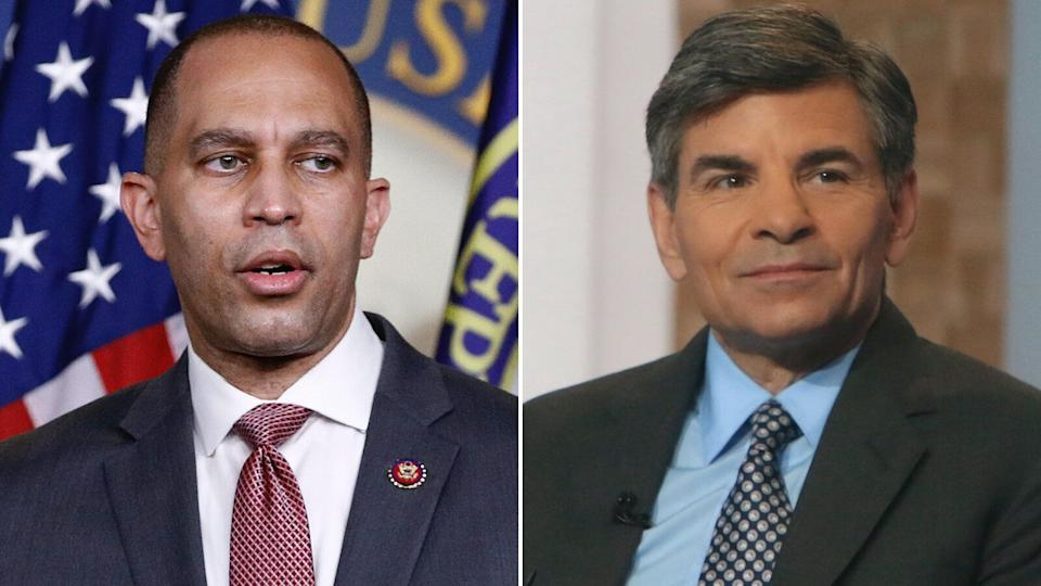 Rep. Hakeem Jeffries (D-N.Y.) is shown on the left, and journalist George Stephanopoulos is shown on the right. A California man was arrested and charged Tuesday with making threats against family members of both men. (Photo: AP / RW / MediaPunch / IPX)