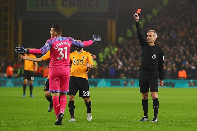 WOLVERHAMPTON, ENGLAND - DECEMBER 27: Ederson of Manchester City is sent off by referee Martin Atkinson during the Premier League match between Wolverhampton Wanderers and Manchester City at Molineux on December 27, 2019 in Wolverhampton, United Kingdom. (Photo by Chris Brunskill/Fantasista/Getty Images)