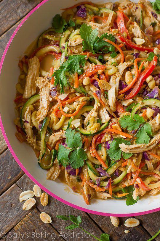 """<p>Zoodles <em>love </em>sauce, especially of the peanut variety. While it pairs beautifully with chicken, you can swap tofu in just as perfectly (or even double down on another fresh veg!).</p><p><em><a href=""""http://sallysbakingaddiction.com/2016/02/22/peanut-chicken-zucchini-noodles/"""" rel=""""nofollow noopener"""" target=""""_blank"""" data-ylk=""""slk:Get the recipe from Sally's Baking Addiction »"""" class=""""link rapid-noclick-resp"""">Get the recipe from Sally's Baking Addiction »</a></em></p>"""