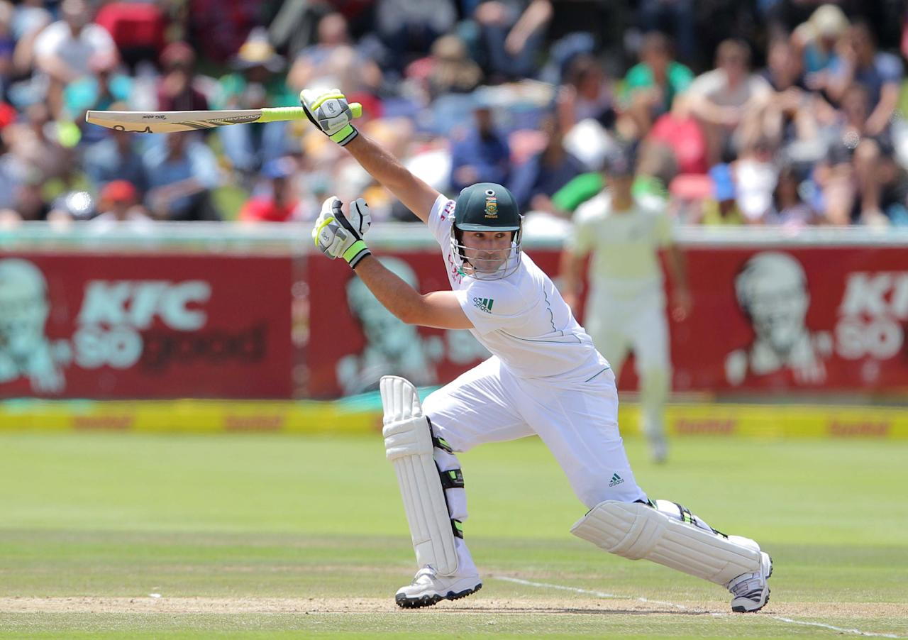 CAPE TOWN, SOUTH AFRICA - JANUARY 03: Dean Elgar from the Proteas hits out during day 2 of the 1st Test between South Africa and New Zealand at Sahara Park Newlands on January 03, 2013 in Cape Town, South Africa. (Photo by Carl Fourie / Gallo Images/Getty Images)