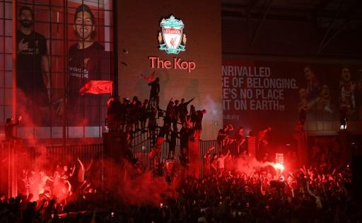 Thousands of Liverpool fans celebrated the Premier League title outside Anfield