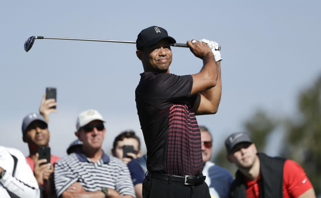 Tiger Woods, back in action. (AP)