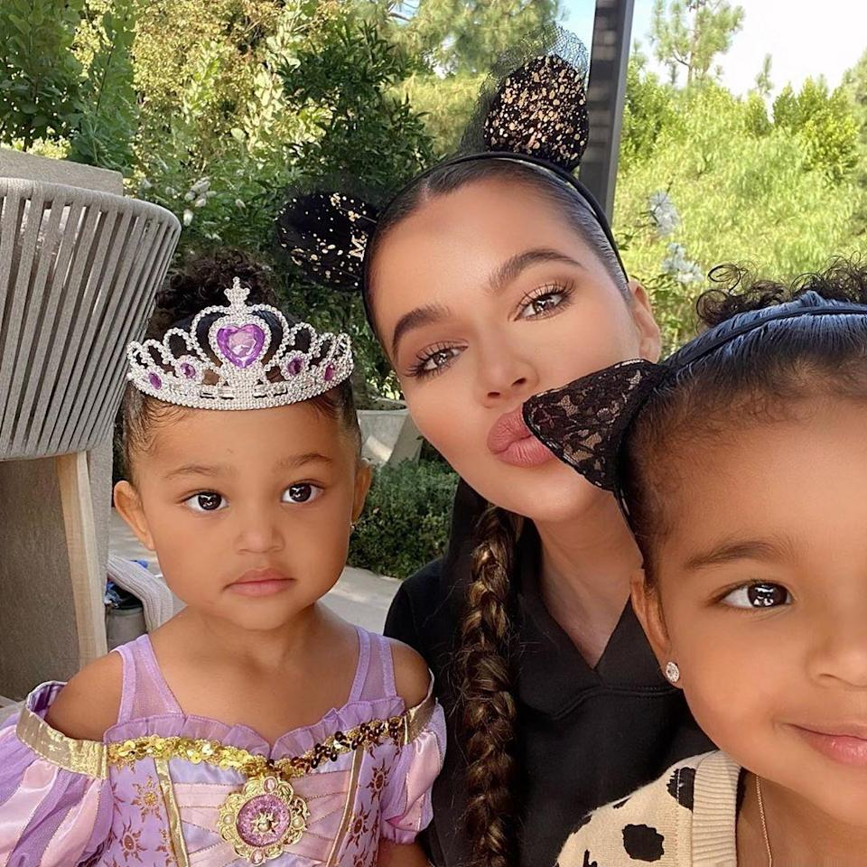 "<p>Khloé Kardashian threw the cutest little Halloween party for her fam. For the <a href=""https://www.instagram.com/p/CGLnmAPB83U/"" rel=""nofollow noopener"" target=""_blank"" data-ylk=""slk:crafty event,"" class=""link rapid-noclick-resp"">crafty event,</a> Khloé wore mouse ears, True wore cat ears, and it def looks like Stormi went as Rapunzel from <em>Tangled</em>. </p>"