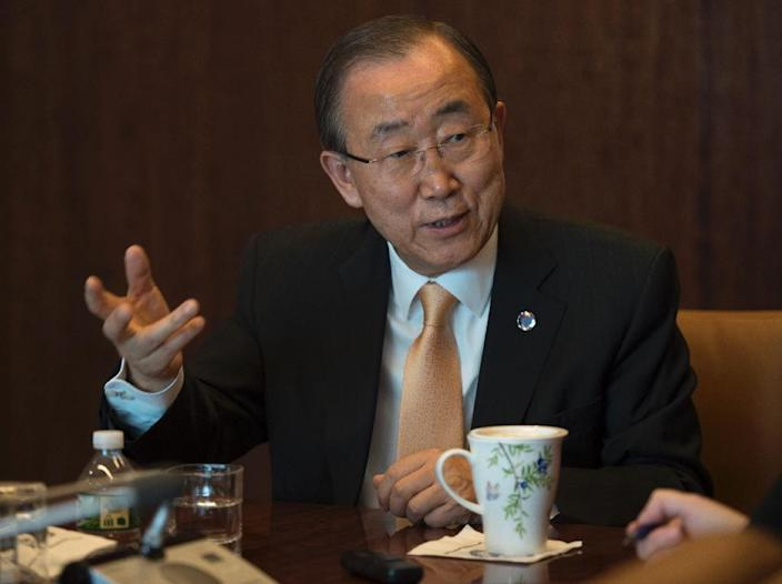 The United Nations Secretary General Ban Ki-moon answers questions during an interview with Agence France-Presse November 11, 2016 at the United Nations in New York (AFP Photo/Don Emmert)