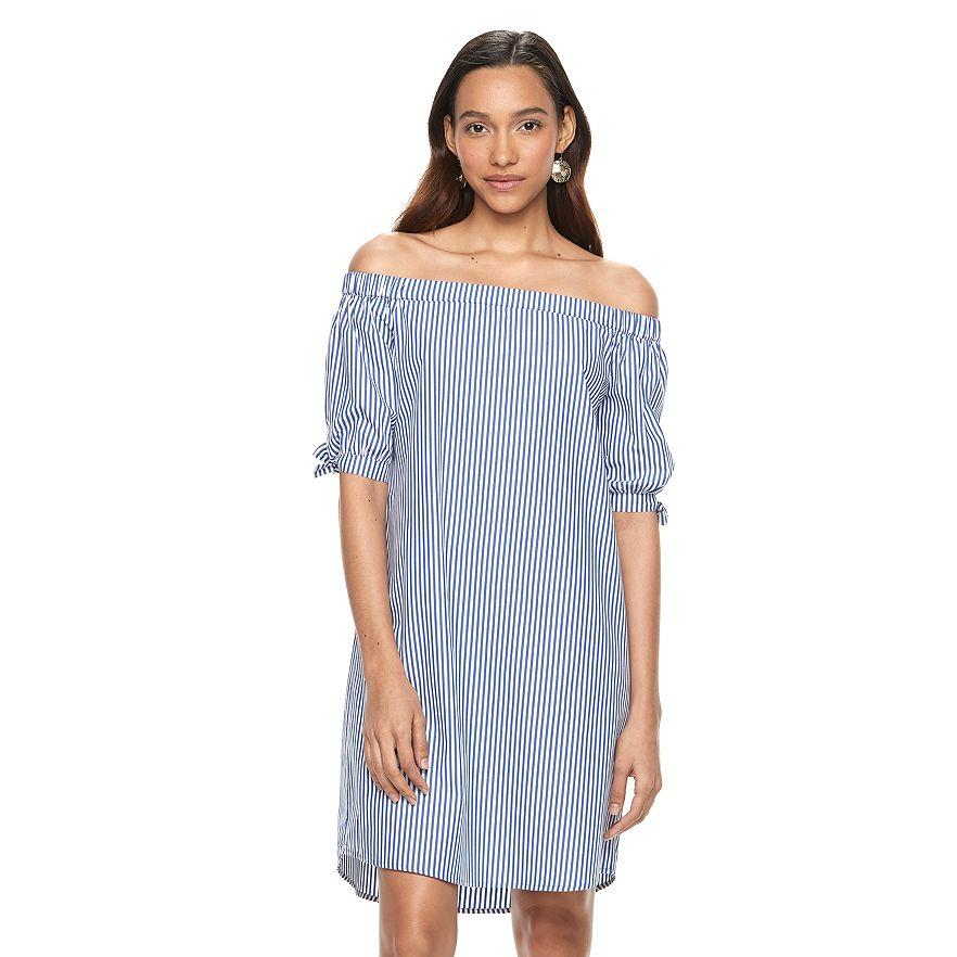 Jillian Ruffo, Associate Beauty Editor: My current wardrobe must-have is anything off-the-shoulder and/or pinstriped -- and this springy dress fits both of those categories. The best part? It comes in petite, meaning my 4'-11'' frame won't be swimming in fabric, as usual.Buy It! Petite Apt. 9® Off-the-Shoulder Dress, $29.99 (orig. $50); kohls.com