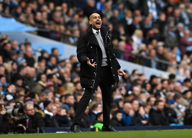 <p>Josep Guardiola, Manager of Manchester City reacts during the Premier League match between Manchester City and Swansea City at Etihad Stadium on February 5, 2017 in Manchester, England. </p>