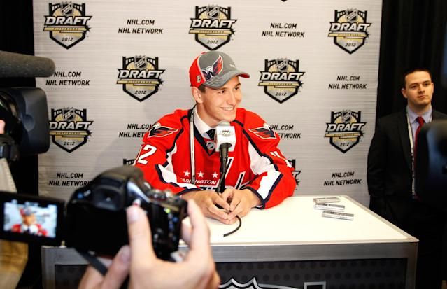 PITTSBURGH, PA - JUNE 22: Filip Forsberg, 11th overall pick by the Washington Capitals, speaks to media during Round One of the 2012 NHL Entry Draft at Consol Energy Center on June 22, 2012 in Pittsburgh, Pennsylvania. (Photo by Justin K. Aller/Getty Images)