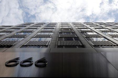 A building at 666 Fifth Avenue, owned by Kushner Companies, rises above the street in New York, U.S., March 30, 2017.  REUTERS/Lucas Jackson/File Photo
