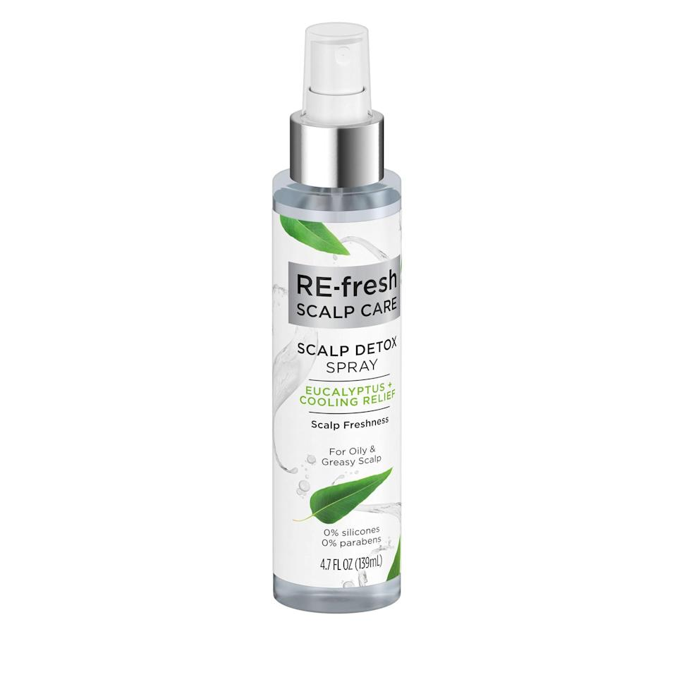 "<p>""I have an oily scalp and super-fine hair, which creates double trouble when it comes to degreasing — it's tough to find a product that can do the job without weighing down my strands. The Re-Fresh Scalp Care Scalp Detox Spray, however, does the trick. I apply it proactively at the roots of my freshly-washed hair and find it extends the life of my blowout by a good day or two. The zingy eucalyptus scent and the fact that the formula tingles slightly upon application turn the not-so-glamorous job of degreasing my scalp into a far more elevated — dare I say, spa-like — experience."" <em>— Dianna Mazzone, senior beauty editor</em></p> <p><strong>$8</strong> (<a href=""https://www.walmart.com/ip/RE-Fresh-Scalp-Care-Scalp-Detox-Spray-Eucalyptus-Cooling-Relief-4-7-oz/377154631"" rel=""nofollow noopener"" target=""_blank"" data-ylk=""slk:Shop Now"" class=""link rapid-noclick-resp"">Shop Now</a>)</p>"