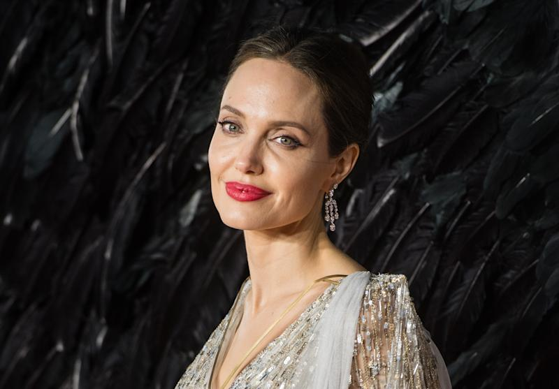"""LONDON, ENGLAND - OCTOBER 09: Angelina Jolie attends the European premiere of """"Maleficent: Mistress of Evil"""" at Odeon IMAX Waterloo on October 09, 2019 in London, England. (Photo by Samir Hussein/WireImage)"""