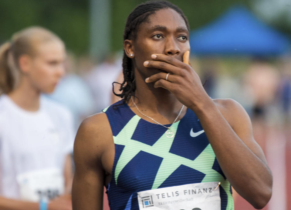 Caster Semenya reacts before the women's 5000 meter race in Regensburg, Saturday, June 19, 2021. The two-time 800-meter Olympic champion from South Africa once again missed out on qualifying for the Summer Games in Tokyo during her surprising start in Regensburg. (Stefan Puchner/dpa via AP)
