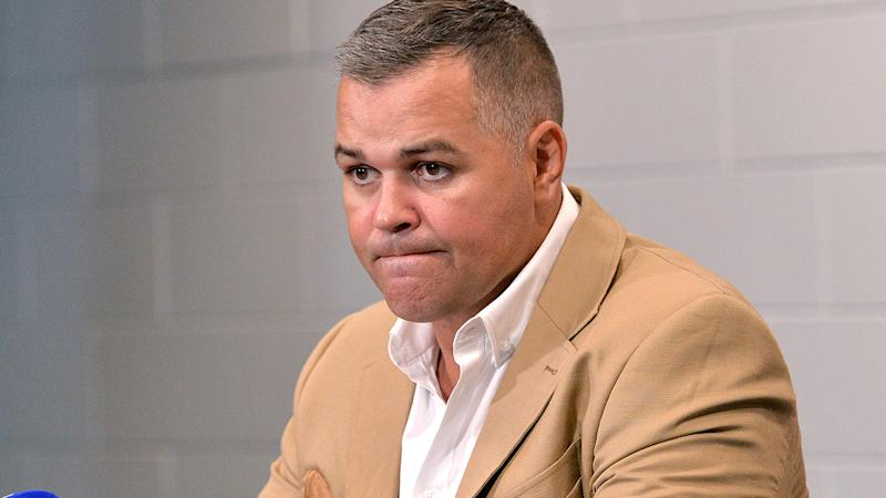 Anthony Seibold, pictured here addressing the media after the Broncos were thrashed by the Roosters.