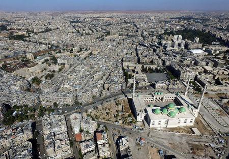 A general view taken with a drone shows a mosque where forces loyal to Syria's President Bashar al-Assad are stationed in Aleppo's government-controlled area of al-Masharqa, Syria October 20, 2016. REUTERS/Abdalrhman Ismail