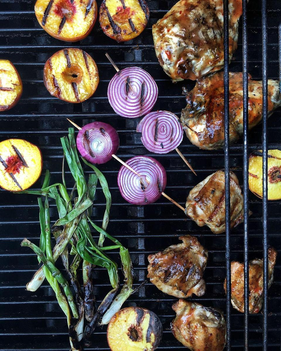 """<p>We're keen on this homemade, peachy BBQ sauce.</p><p>Get the recipe from <a href=""""https://www.delish.com/cooking/recipe-ideas/recipes/a48080/bbq-chicken-with-sweet-chili-peach-glaze-recipe/"""" rel=""""nofollow noopener"""" target=""""_blank"""" data-ylk=""""slk:Delish"""" class=""""link rapid-noclick-resp"""">Delish</a>.</p>"""